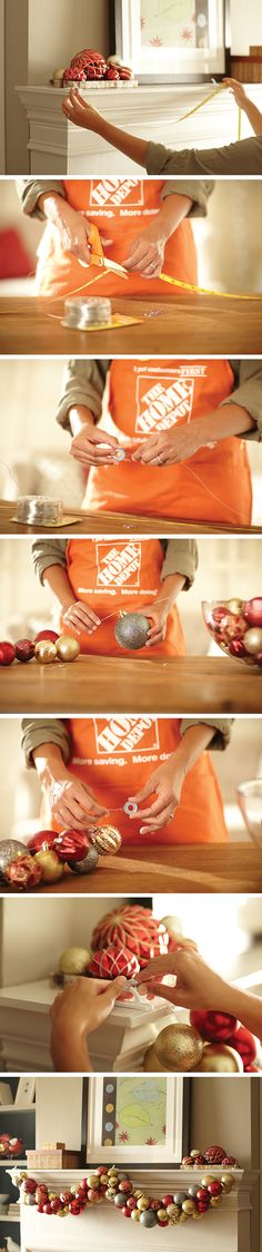 DIY Decor - Making an Ornament Garland is a great holiday project for children and adults. It's sure to add cheer to your holiday gatherings. Christmas Projects, Holiday Crafts, Holiday Fun, Festive, Noel Christmas, Winter Christmas, Christmas Ornaments, Christmas Mantles, Diy Ornaments