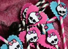 Monster High Mini Party Decoration Paper Straws by ScrappyChicShop, $10.99