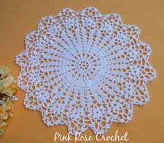 PINK ROSE CROCHET: White Note Doily