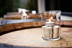 Love this simple table decoration. great for wine and cheese party. Save those wine corks :) Ripperton Wine And Cheese Party, Wine Tasting Party, Wine Parties, Wine Cheese, Simple Table Decorations, Decoration Table, Wine Party Decorations, Candle Decorations, Wine Cork Candle
