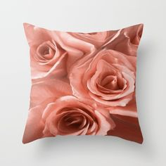 Abstract Roses #2 Throw Pillow floral, flowers, roses, botanical, nature, garden, landscape, red, peach, colorful, contemporary