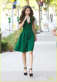 Zendaya in a stunning green dress and exciting mary jane heels!