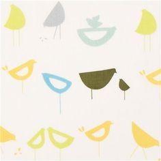 monaluna bird organic fabric from the USA blue-yellow-green