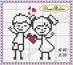 Graph Paper Art, Cross Stitch Heart, Stitch 2, Valentine Crafts, Perler Beads, Cross Stitching, Pixel Art, Cross Stitch Patterns, Embroidery