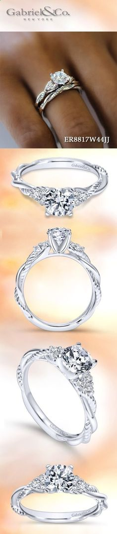 Gabriel NY - Voted #1 Most Preferred Fine Jewelry and Bridal Brand. 14k White Gold Round Twisted Engagement Ring #engagementrings #WhiteGoldJewellery