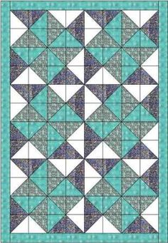 """This big dipper quilt is made using 5"""" squares so that you could use a charm pack. It forms a delightful pattern of double pinwheels but is easy to make"""