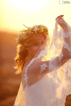 romantic wedding photos ♥ sunset