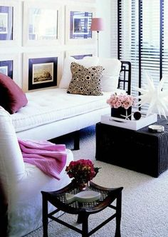 Living Room Decorating Ideas on a Budget  - Pink, black and white, greyscale apartment decor. Love the chase lounge too.