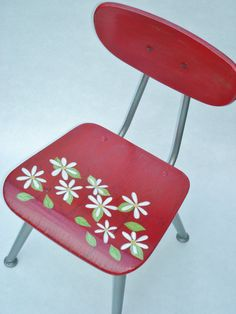 Recycled Hand Painted Childs Chair-Daisy Girl-Sale