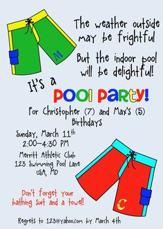 Pool Party for Boys by cupcakesnlemonade on Etsy, $10.00