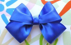 Royal Blue Polyester Satin Ribbon Hair Bow or Hair by Bloomzies, $3.00