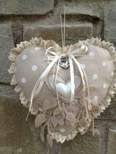 Read more about shabby chic decor Shabby Chic Hearts, Shabby Chic Decor, Lace Heart, Heart Art, Valentine Crafts, Valentines Day, Sewing Crafts, Sewing Projects, Fabric Hearts