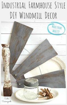 Thanks to shows like Fixer Upper, everyone wants windmill wall decor! But a salvaged chunk of windmill is pricey- so why not DIY your own by repurposing something you already have or can find at a thrift store? This upcycled ceiling fan blade windmill project from Sadie Seasongoods is AMAZING- learn how to craft your own at www.sadieseasongoods.com