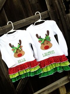 Rudolph Reindeer Ruffle Shirt/Tunic with leggings toddler kids girl holiday outfit family photo christmas winter December matching santa red-nose monogram name embroidered @Amanda Cornehl