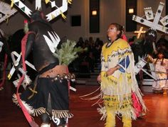 Award-winning White Mountain Apache Crown Dancers [4 crowns and a clown] perform their dance to the Spirit People