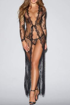 Dreamgirl Tie-Front Lace Robe