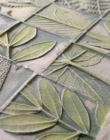 Beautiful handmade ceramic tiles, including herb garden. Bas relief.