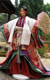 Full formal Heian period court apparel. click the picture on the page for labels of the layers!