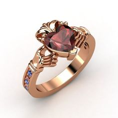 Heart Red Garnet 14K Rose Gold Ring with Sapphire