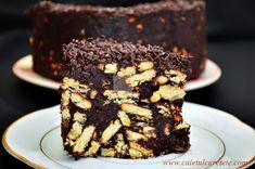 Tort de biscuiti cu ciocolata si fructe confiate (de post) - CAIETUL CU RETETE Sweet Memories, Macaroons, Biscuit, Deserts, Good Food, Sweets, Sugar, Candy, Snacks