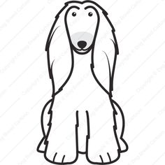 Afghan Hound - Linear Edition | Dog Breed Cartoon