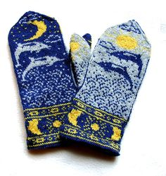 Ravelry: Sun Moon and Dolphins Mittens pattern by Erica Mount