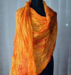 Scarf orange  Silk Scarf scarf hand painted silk by batikelena