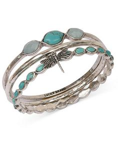 Lucky Brand Bracelet Set, Silver-Tone Turquoise Dragonfly Bangle Bracelets - Fashion Jewelry - Jewelry & Watches - Macy's