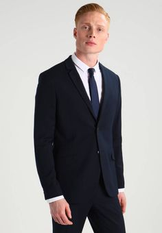 KIOMI Suit - navy for with free delivery at Zalando Business Men, Men's Wardrobe, Suit And Tie, Fabric Material, Mens Suits, Suit Jacket, Spandex, Navy, Sleeves
