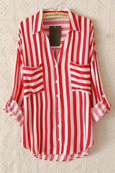 Red Stripes Two Pockets Lapel Long Sleeve Blouse