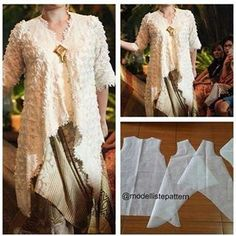 V neck blouse flare pattern Order by line : (with Kebaya Lace, Kebaya Dress, Batik Kebaya, Batik Dress, Kebaya Hijab, Vera Kebaya, Pola Kebaya Kutubaru, Kebaya Brokat, Dress Brokat