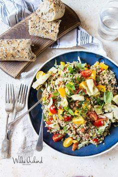 Mediterranean Farro Salad #healthy #dinner #recipe #grain #salad