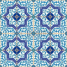 Gorgeous seamless pattern from dark blue and white Moroccan,. Morrocan Patterns, Moroccan Tiles, Tile Patterns, White Mosaic Tiles, A Level Textiles, Portuguese Tiles, Mosaic Crafts, Geometric Art, Wall Prints