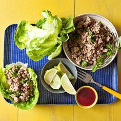 Buffalo chicken wraps, bulgogi beef wraps, thai pork cups, and other lettuce wrap recipes for Rachael Ray's magazine, Rachael Ray Every Day. Thai Lettuce Wraps, Turkey Lettuce Wraps, Lettuce Wrap Recipes, Lettuce Cups, Pork Recipes, Asian Recipes, Cooking Recipes, Healthy Recipes, Ethnic Recipes