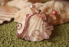 Pink Wire Wrapped Shell Necklace
