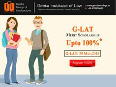 Crack GLAT to avail scholarships!  Join #GeetaInstituteofLaw Enrol yourself today! Visit: www.geetalawcollege.in or call-+91-9729970000.