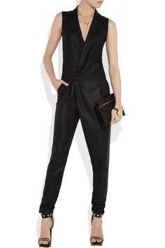 J Brand Angelina sleeveless crepe tuxedo jumpsuit NET-A-PORTER.COM