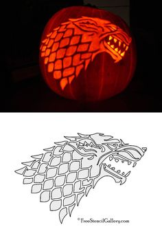 Game of Thrones - FREE House Stark Sigil Stencil 2. Medieval Halloween Game of Thrones Gathering Party Theme & Decorating Ideas