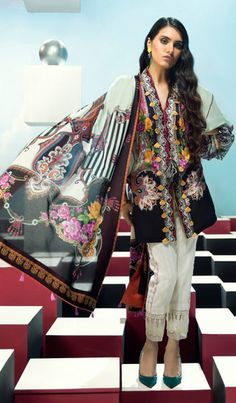 Elan Lawn Embroidery Suit with Voile Dupatta having Embroidery patches Pakistani Fashion Casual, Pakistani Dresses Casual, Pakistani Dress Design, Indian Fashion, Pakistani Suits, Stylish Dress Designs, Stylish Dresses, Casual Dresses, Women's Casual