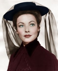 """A rare colorized photo of Gene Tierney in """"The Ghost and Mrs. Muir"""" in Hollywood Actor, Golden Age Of Hollywood, Hollywood Stars, Hollywood Actresses, Classic Hollywood, Old Hollywood, Actors & Actresses, Classic Actresses, Hollywood Glamour"""