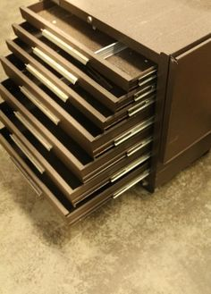 Kennedy seven drawer metal tool box on wheels, with drop leaf side