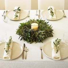 Elegant all cream linens with olive branch napkin decor and olive wreath/ candle centerpiece Christmas Table Settings, Christmas Decorations, Holiday Decor, Holiday Tablescape, Thanksgiving Centerpieces, Seasonal Decor, Fall Decor, Ideas Decoracion Navidad, Navidad Ideas