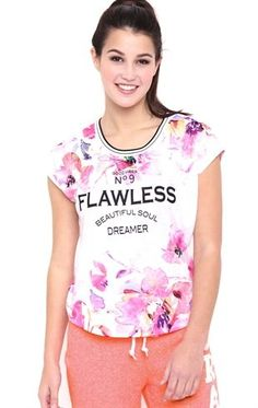 Sleeveless Muscle Tee with Watercolor Floral Flawless Screen $10.75