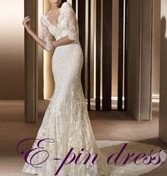 wedding dress lace wedding dress/lace fishtail wedding dress/ mermaid style wedding dress custom size 102101