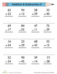 First Grade Addition Subtraction Worksheets: Double-Digit Addition and Subtraction Addition Worksheets First Grade, Addition And Subtraction Worksheets, 3rd Grade Math Worksheets, Math Subtraction, Multiplication Practice, Math Sheets, Second Grade Math, Math For Kids, Maths