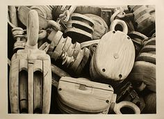 Pulley Pencil Art, Pencil Drawings, Love Drawings, Art Drawings, Pulleys And Gears, Pencil Drawing Tutorials, Hyperrealism, Still Life Art, Drawing Techniques