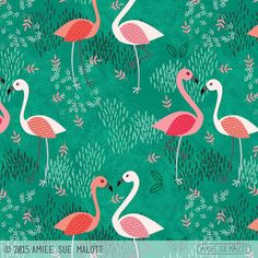 Turned my #flamingo #doodle into a #pattern !  #artist  #fabric #homedecor #amieesuedesigns #365doodleswithjohannafritz #cintiq #wacom #artlicensing #submission #portfolio | by amiee_sue