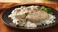 Slow-Cooker pork chops from bettycrocker---Jump-start a deliciously easy dinner with a can of Progresso® soup! Crock Pot Slow Cooker, Crock Pot Cooking, Slow Cooker Recipes, Cooking Recipes, Cooking Pork, Pork Chop Recipes, Healthy Crockpot Recipes, Crockpot Meals, Crockpot Dishes