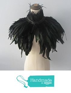 Black Handmade Feather Cape Feather Wrap SHAWL Shrug Shoulders with High Collar…