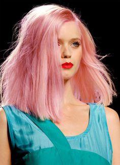 medium length pink hair + red lips